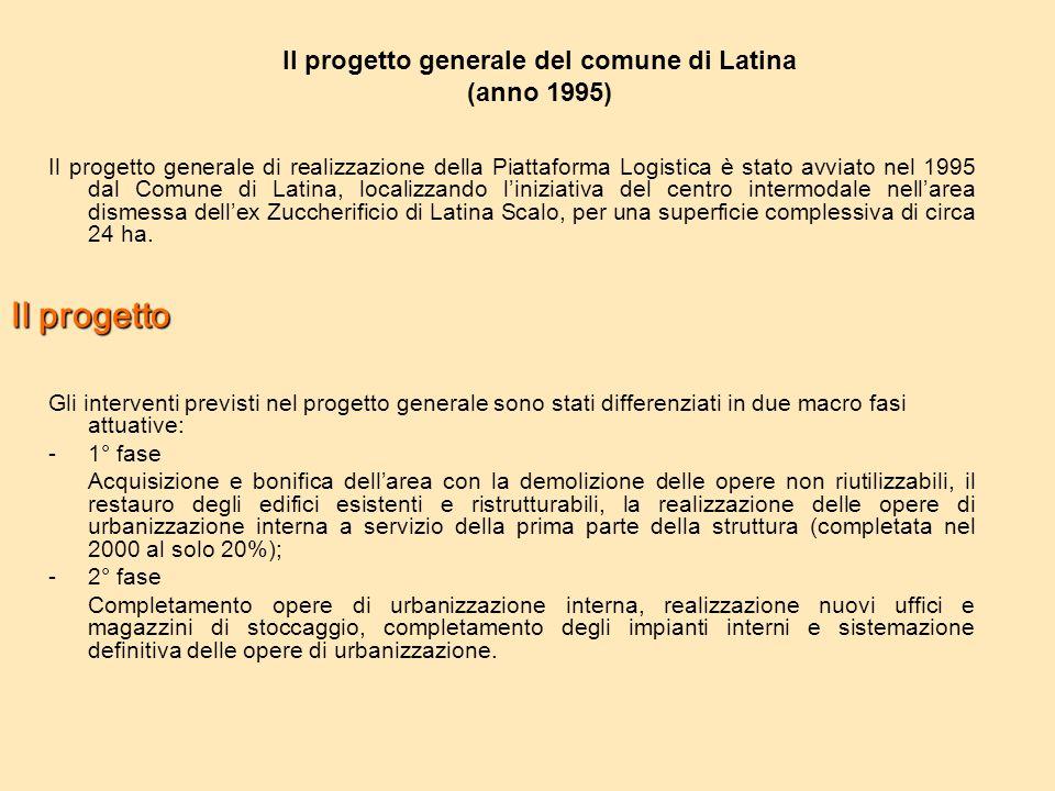 Il progetto generale di realizzazione della Piattaforma Logistica è stato avviato nel 1995 dal Comune di Latina, localizzando l'iniziativa del centro