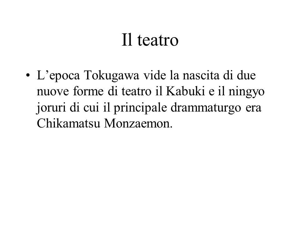 Il teatro L'epoca Tokugawa vide la nascita di due nuove forme di teatro il Kabuki e il ningyo joruri di cui il principale drammaturgo era Chikamatsu M