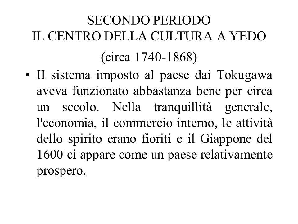 SECONDO PERIODO IL CENTRO DELLA CULTURA A YEDO (circa 1740-1868) II sistema imposto al paese dai Tokugawa aveva funzionato abbastanza bene per circa u