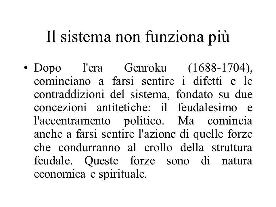 Il sistema non funziona più Dopo l'era Genroku (1688-1704), cominciano a farsi sentire i difetti e le contraddizioni del sistema, fondato su due conce
