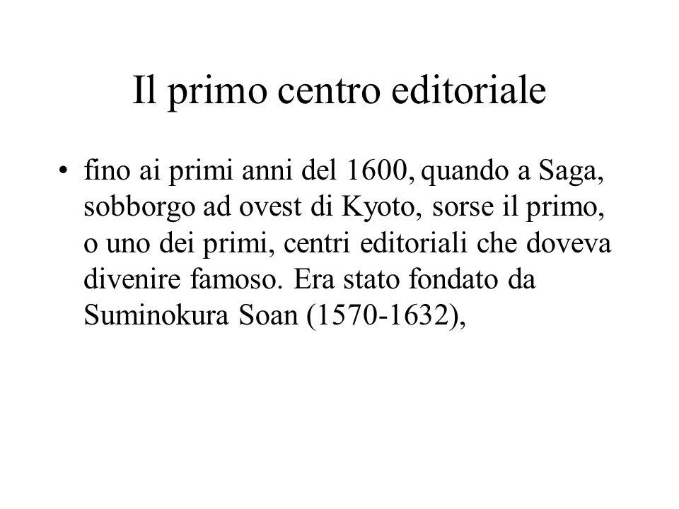 Il primo centro editoriale fino ai primi anni del 1600, quando a Saga, sobborgo ad ovest di Kyoto, sorse il primo, o uno dei primi, centri editoriali