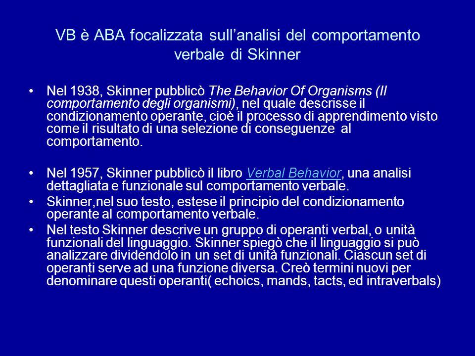 VB è ABA focalizzata sull'analisi del comportamento verbale di Skinner Nel 1938, Skinner pubblicò The Behavior Of Organisms (Il comportamento degli or