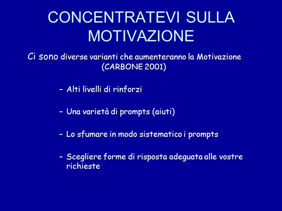CONCENTRATEVI SULLA MOTIVAZIONE Ci sono diverse varianti che aumenteranno la Motivazione (CARBONE 2001) –Alti livelli di rinforzi –Una varietà di prom