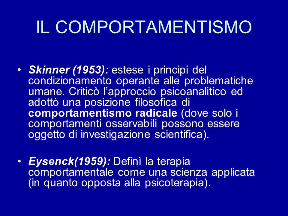 IL COMPORTAMENTISMO Skinner (1953): estese i principi del condizionamento operante alle problematiche umane. Criticò l'approccio psicoanalitico ed ado