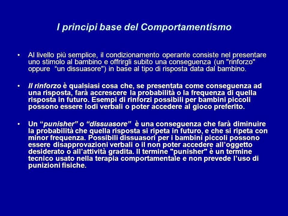 I principi base del Comportamentismo Al livello più semplice, il condizionamento operante consiste nel presentare uno stimolo al bambino e offrirgli s