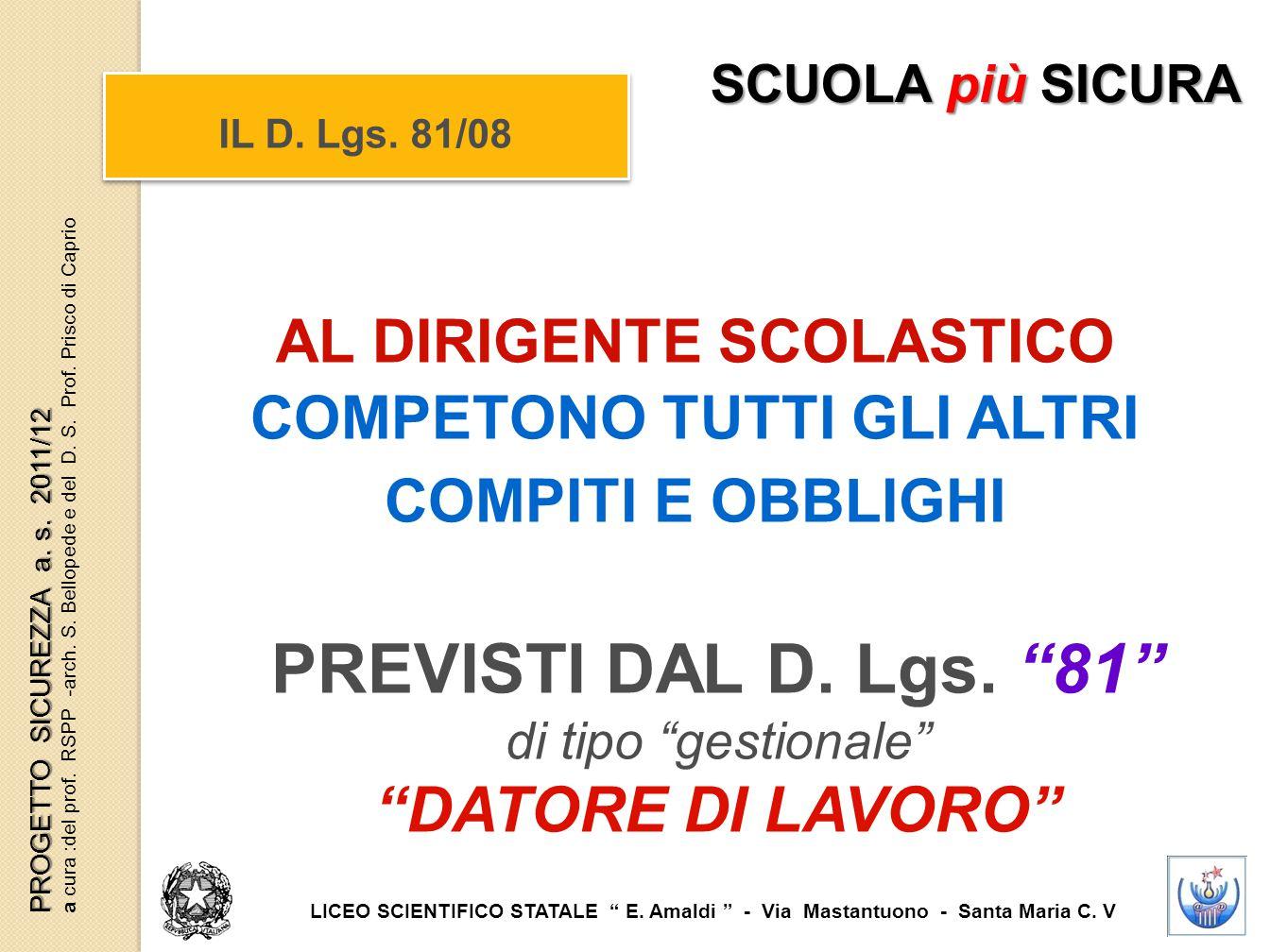 """AL DIRIGENTE SCOLASTICO COMPETONO TUTTI GLI ALTRI COMPITI E OBBLIGHI PREVISTI DAL D. Lgs. """"81"""" di tipo """"gestionale"""" """"DATORE DI LAVORO"""" IL D. Lgs. 81/0"""