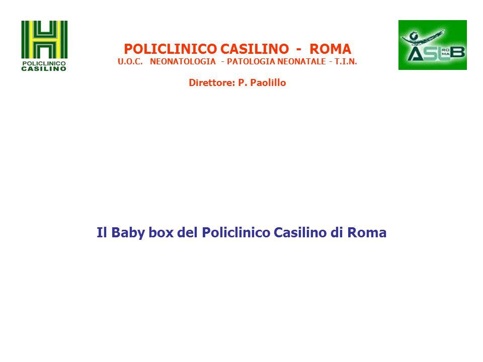 POLICLINICO CASILINO - ROMA U.O.C. NEONATOLOGIA - PATOLOGIA NEONATALE - T.I.N. Direttore: P. Paolillo Il Baby box del Policlinico Casilino di Roma
