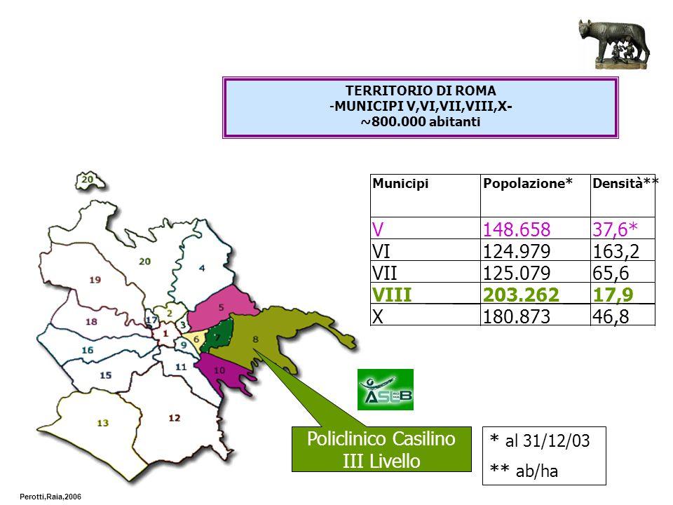* al 31/12/03 ** ab/ha Policlinico Casilino III Livello Perotti,Raia,2006 TERRITORIO DI ROMA -MUNICIPI V,VI,VII,VIII,X- ~800.000 abitanti
