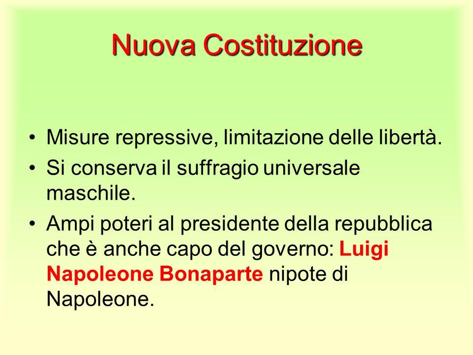 Nuova Costituzione Misure repressive, limitazione delle libertà. Si conserva il suffragio universale maschile. Ampi poteri al presidente della repubbl