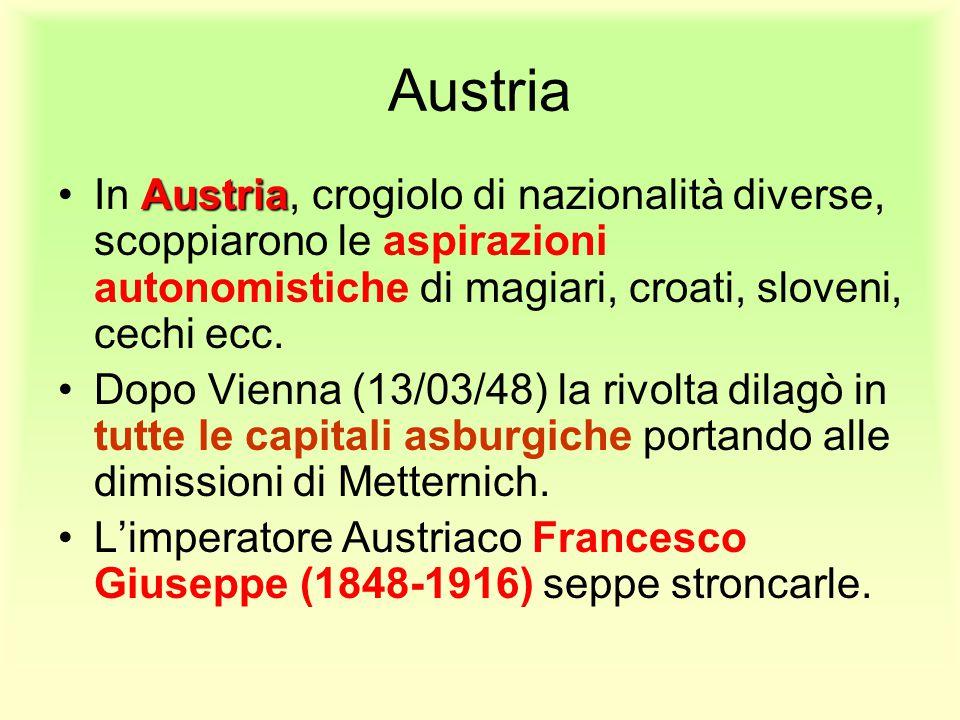 Austria AustriaIn Austria, crogiolo di nazionalità diverse, scoppiarono le aspirazioni autonomistiche di magiari, croati, sloveni, cechi ecc. Dopo Vie