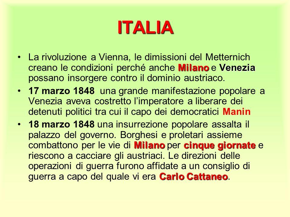 ITALIA MilanoVeneziaLa rivoluzione a Vienna, le dimissioni del Metternich creano le condizioni perché anche Milano e Venezia possano insorgere contro