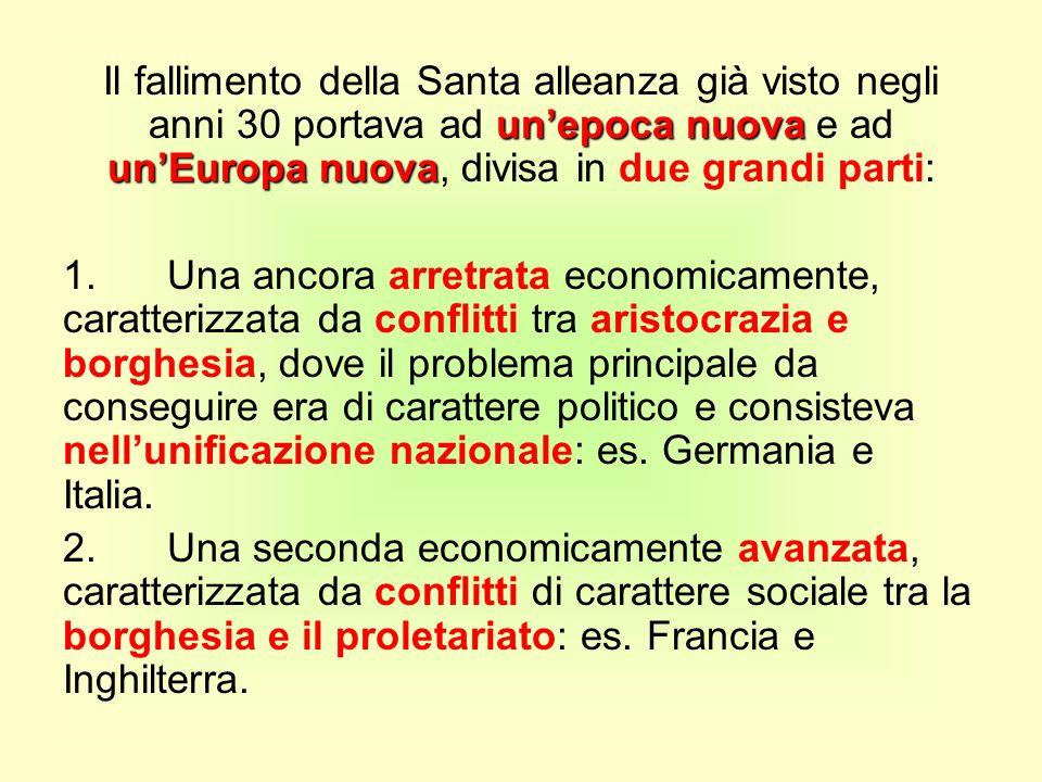 un'epoca nuova un'Europa nuova Il fallimento della Santa alleanza già visto negli anni 30 portava ad un'epoca nuova e ad un'Europa nuova, divisa in du