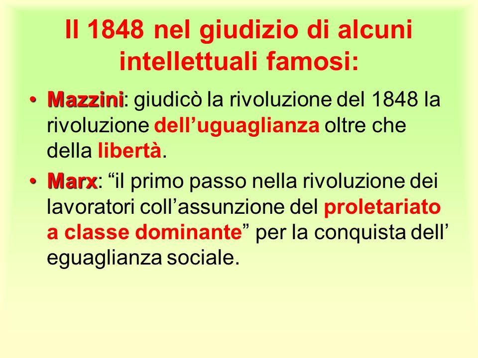 Il 1848 nel giudizio di alcuni intellettuali famosi: MazziniMazzini: giudicò la rivoluzione del 1848 la rivoluzione dell'uguaglianza oltre che della l
