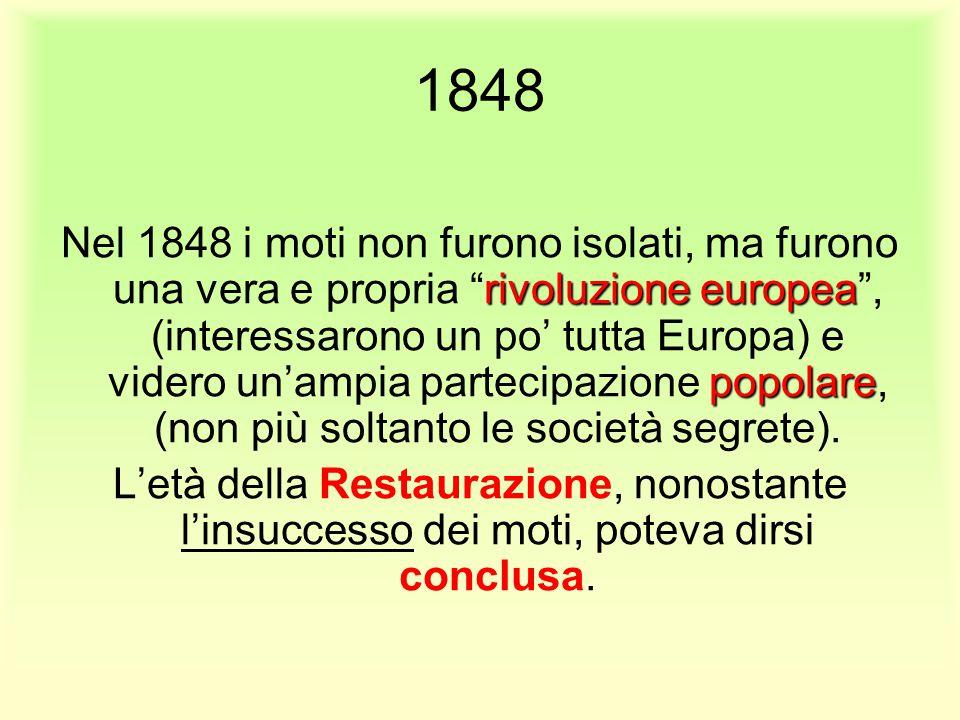 """1848 rivoluzione europea popolare Nel 1848 i moti non furono isolati, ma furono una vera e propria """"rivoluzione europea"""", (interessarono un po' tutta"""