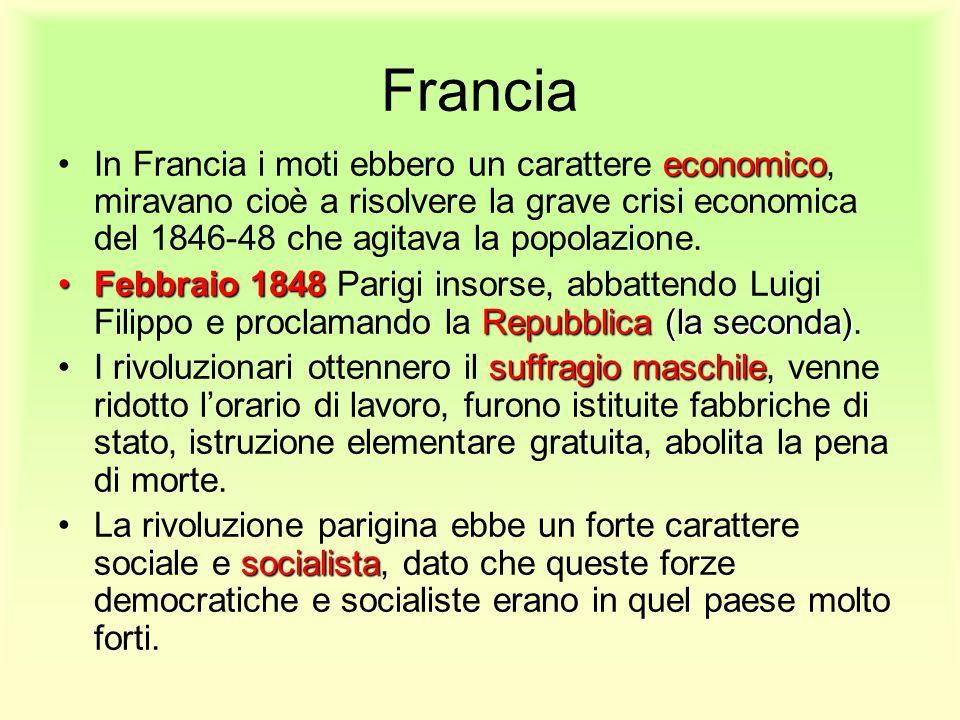 Francia economicoIn Francia i moti ebbero un carattere economico, miravano cioè a risolvere la grave crisi economica del 1846-48 che agitava la popola