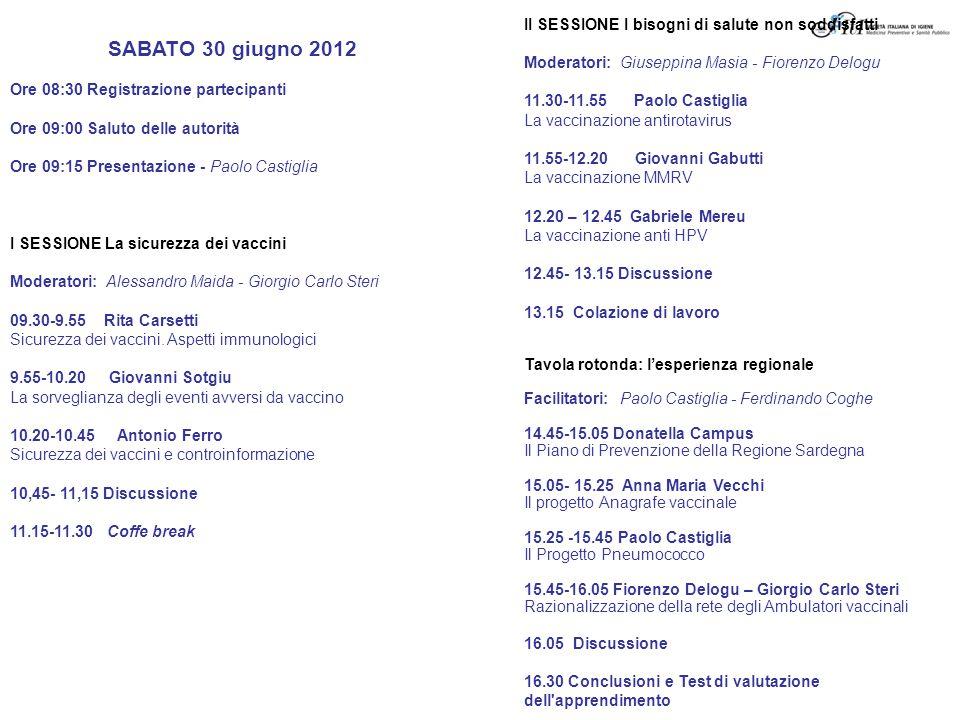 SABATO 30 giugno 2012 Ore 08:30 Registrazione partecipanti Ore 09:00 Saluto delle autorità Ore 09:15 Presentazione - Paolo Castiglia I SESSIONE La sic