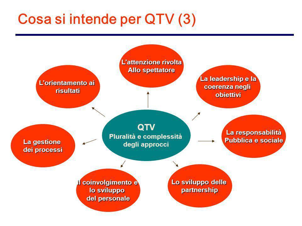 Cosa si intende per QTV (3) L'orientamento ai risultati L'attenzione rivolta Allo spettatore La leadership e la coerenza negli obiettivi La gestione dei processi Il coinvolgimento e lo sviluppo del personale Lo sviluppo delle partnership La responsabilità Pubblica e sociale QTV Pluralità e complessità degli approcci