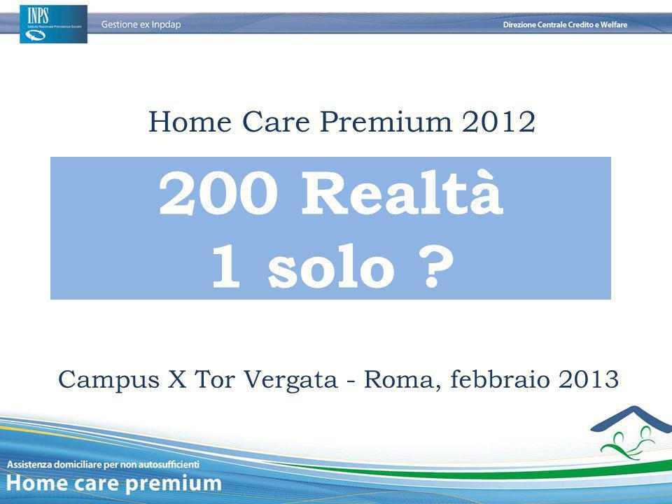 Home Care Premium 2012 Campus X Tor Vergata - Roma, febbraio 2013 200 Realtà 1 solo ?