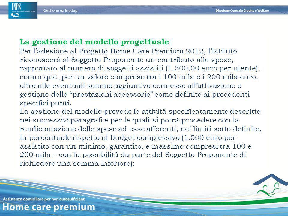 La gestione del modello progettuale Per l'adesione al Progetto Home Care Premium 2012, l'Istituto riconoscerà al Soggetto Proponente un contributo all