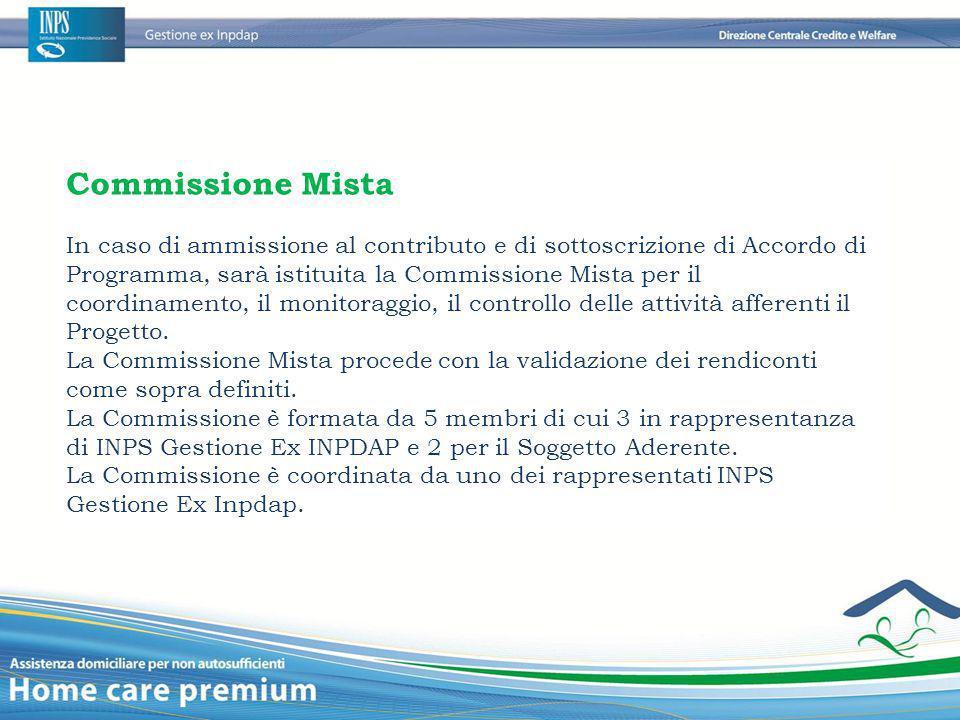 Commissione Mista In caso di ammissione al contributo e di sottoscrizione di Accordo di Programma, sarà istituita la Commissione Mista per il coordina