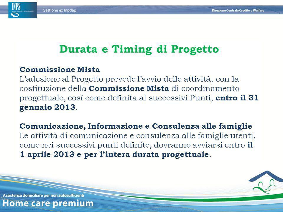 Durata e Timing di Progetto Commissione Mista L'adesione al Progetto prevede l'avvio delle attività, con la costituzione della Commissione Mista di co