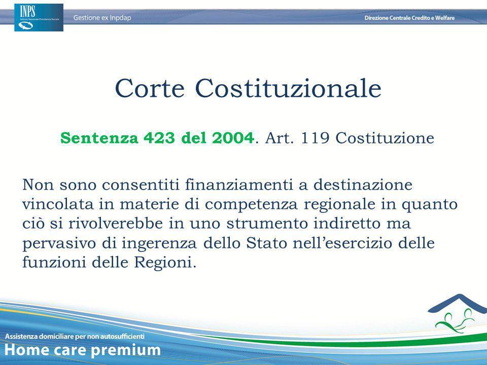 Corte Costituzionale Sentenza 423 del 2004. Art. 119 Costituzione Non sono consentiti finanziamenti a destinazione vincolata in materie di competenza