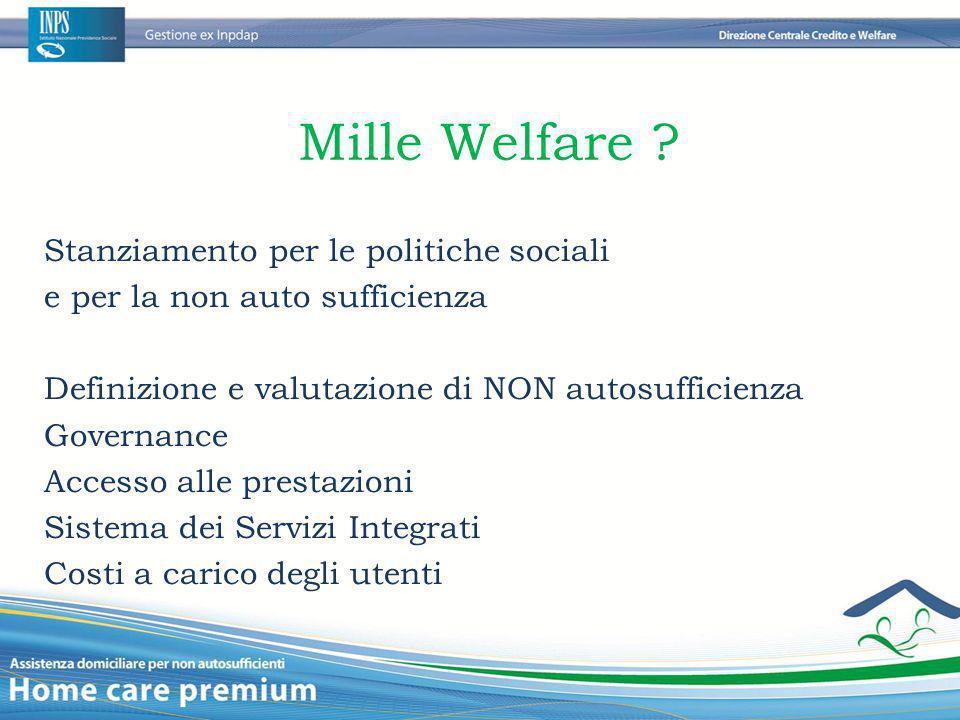 Mille Welfare ? Stanziamento per le politiche sociali e per la non auto sufficienza Definizione e valutazione di NON autosufficienza Governance Access