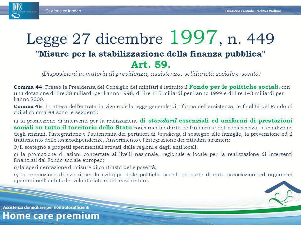 Legge 27 dicembre 1997, n. 449