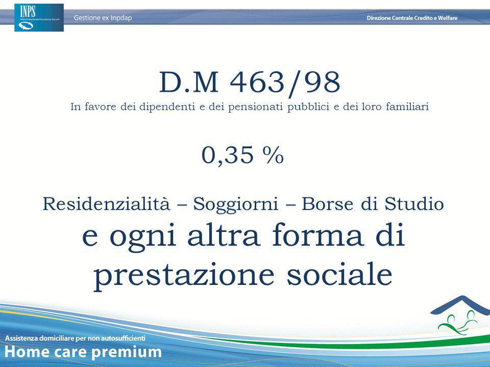 D.M 463/98 In favore dei dipendenti e dei pensionati pubblici e dei loro familiari 0,35 % Residenzialità – Soggiorni – Borse di Studio e ogni altra fo