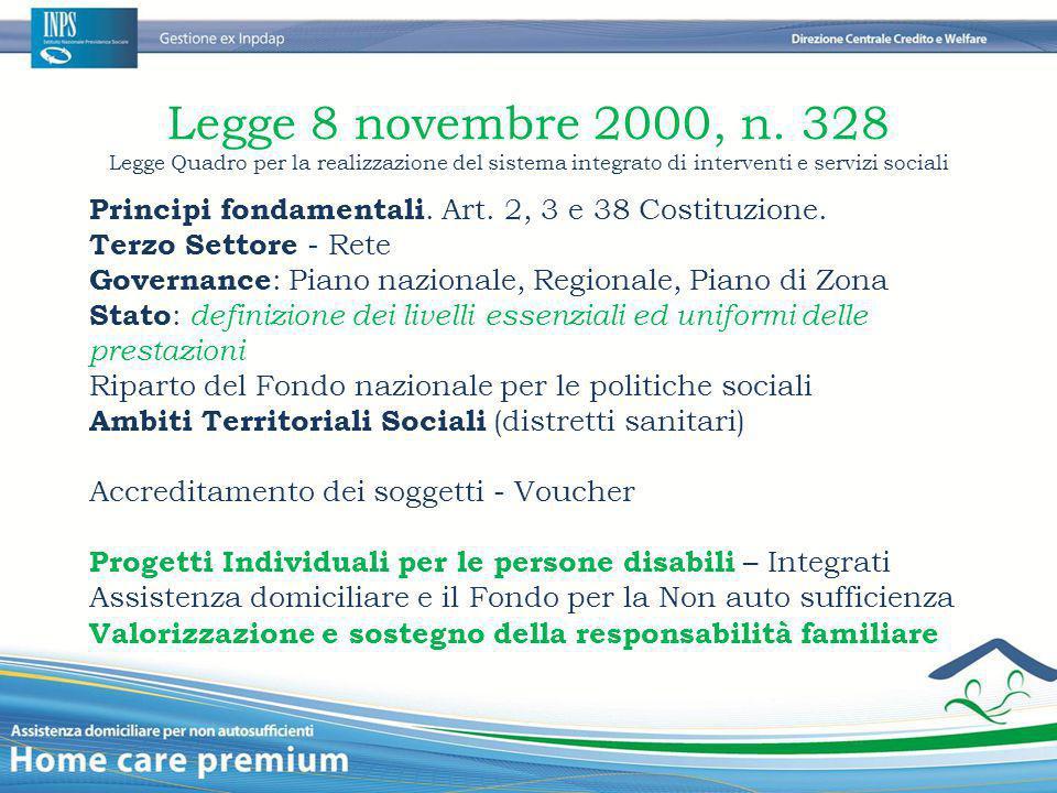 Legge 8 novembre 2000, n. 328 Legge Quadro per la realizzazione del sistema integrato di interventi e servizi sociali Principi fondamentali. Art. 2, 3