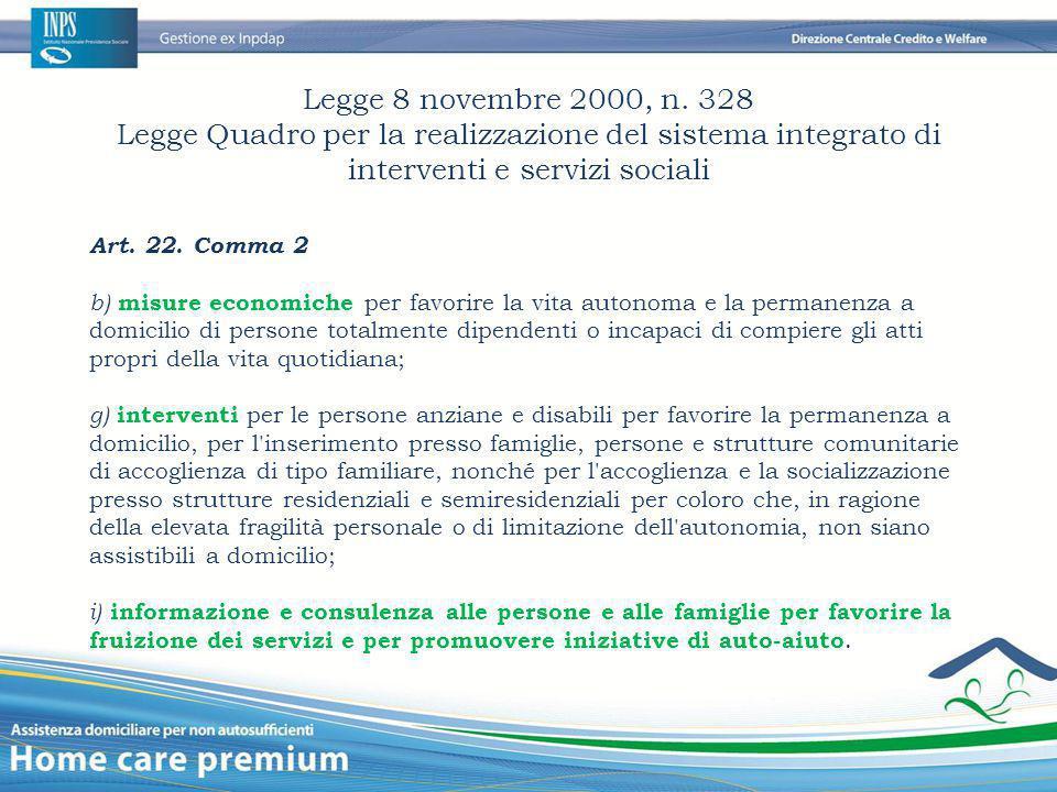 Legge 8 novembre 2000, n. 328 Legge Quadro per la realizzazione del sistema integrato di interventi e servizi sociali Art. 22. Comma 2 b) misure econo