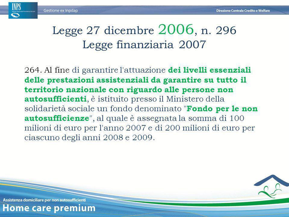 Legge 27 dicembre 2006, n. 296 Legge finanziaria 2007 264. Al fine di garantire l'attuazione dei livelli essenziali delle prestazioni assistenziali da