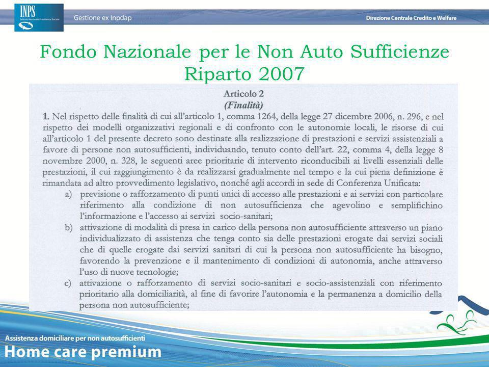 Fondo Nazionale per le Non Auto Sufficienze Riparto 2007