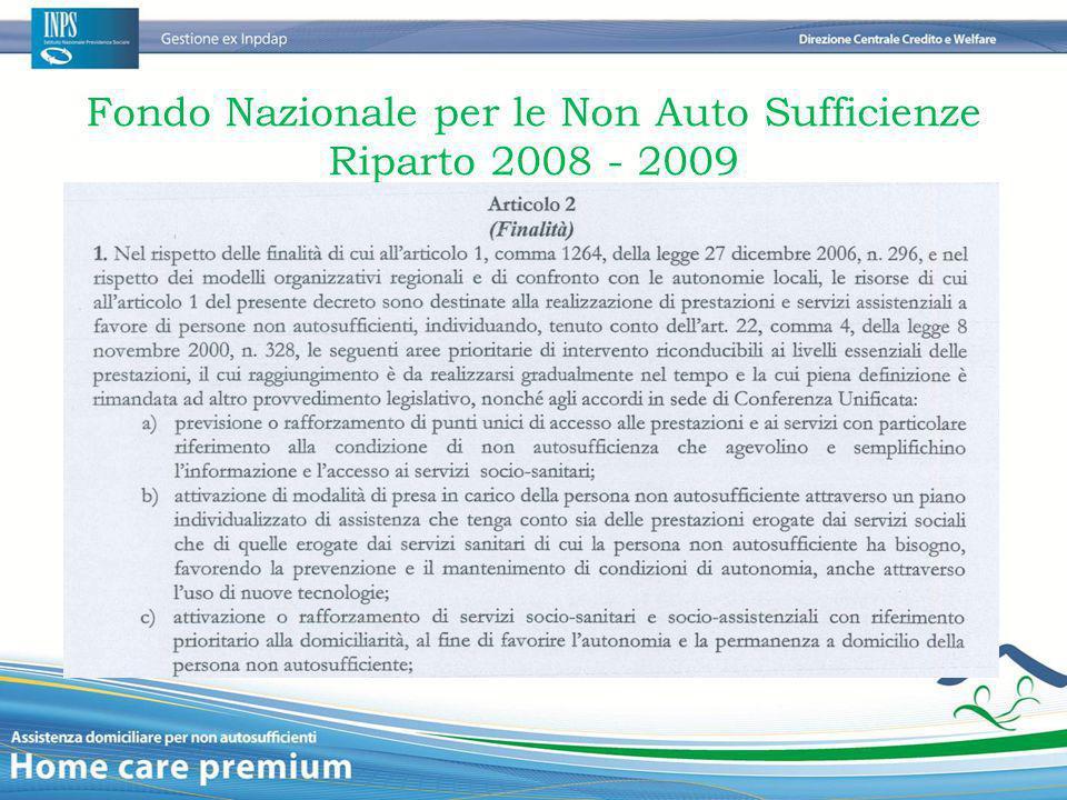 Fondo Nazionale per le Non Auto Sufficienze Riparto 2008 - 2009