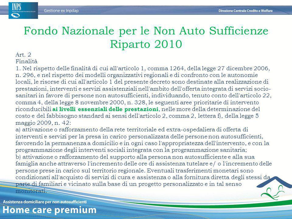 Fondo Nazionale per le Non Auto Sufficienze Riparto 2010 Art. 2 Finalità 1. Nel rispetto delle finalità di cui all'articolo 1, comma 1264, della legge