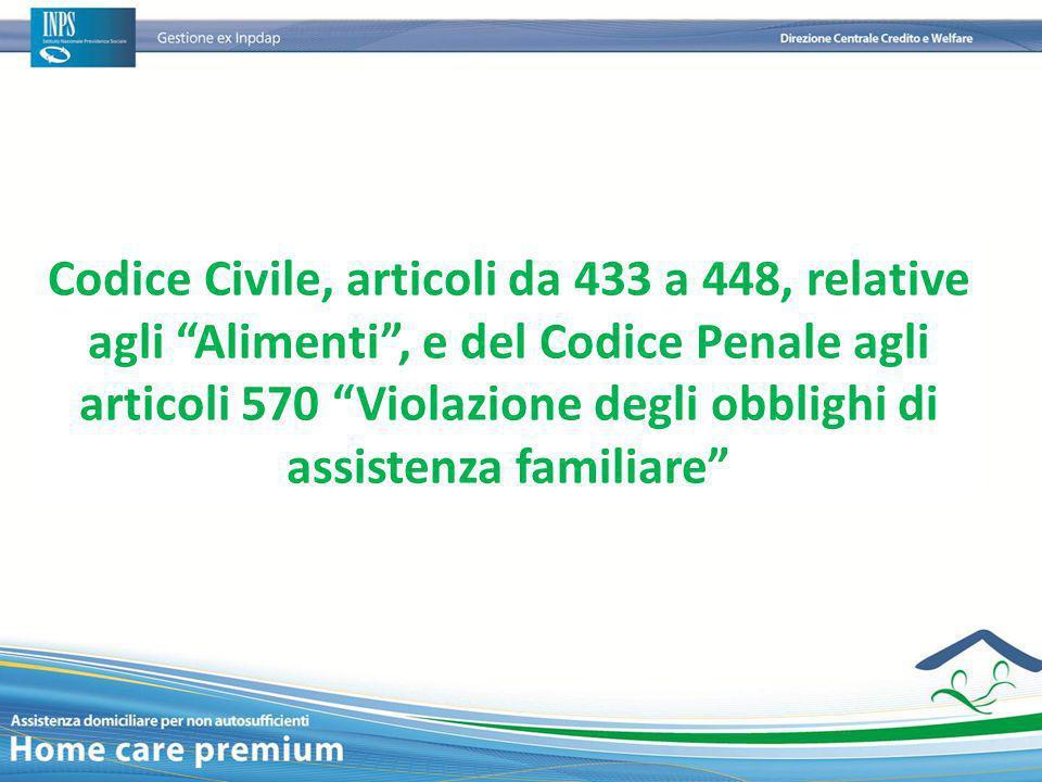 """Codice Civile, articoli da 433 a 448, relative agli """"Alimenti"""", e del Codice Penale agli articoli 570 """"Violazione degli obblighi di assistenza familia"""