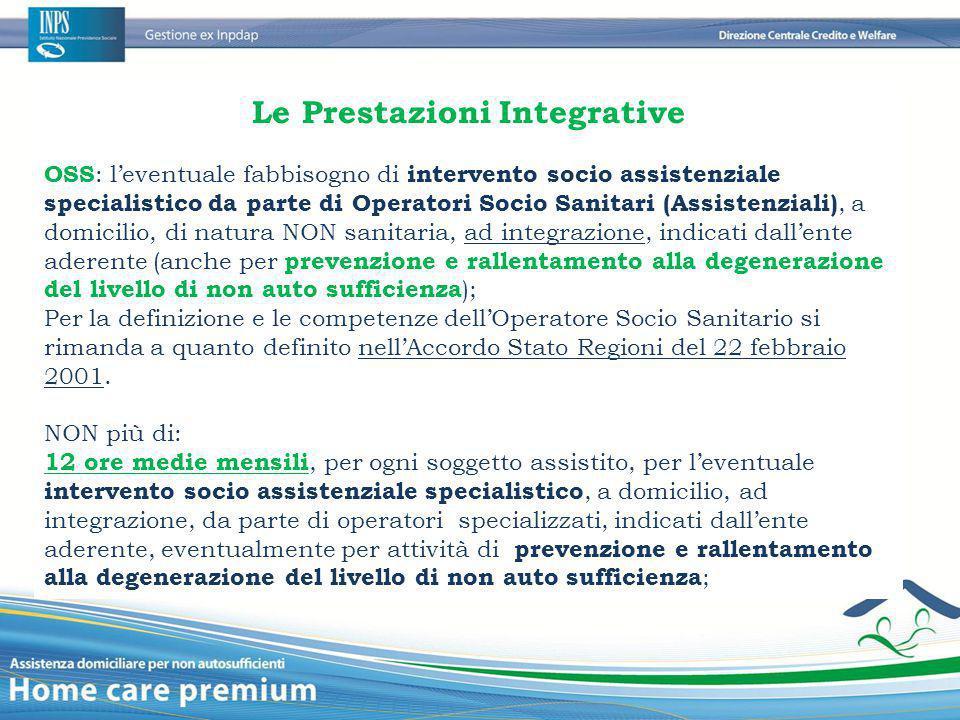 Le Prestazioni Integrative OSS : l'eventuale fabbisogno di intervento socio assistenziale specialistico da parte di Operatori Socio Sanitari (Assisten