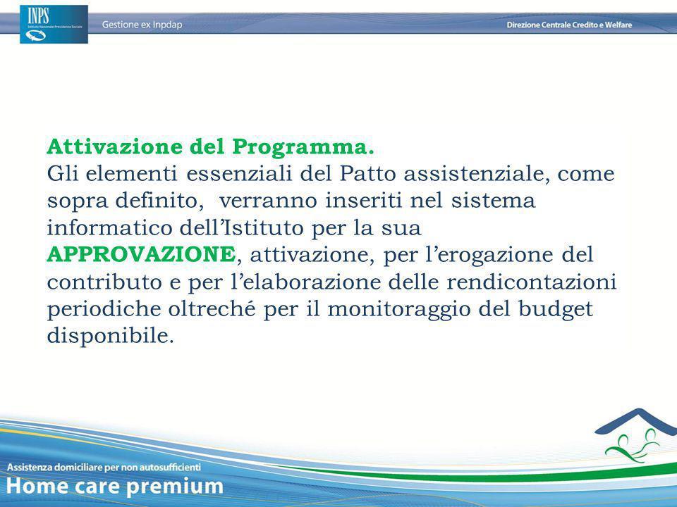 Attivazione del Programma. Gli elementi essenziali del Patto assistenziale, come sopra definito, verranno inseriti nel sistema informatico dell'Istitu