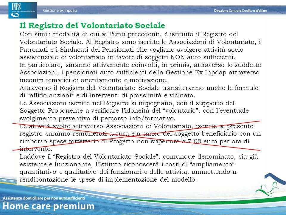 Il Registro del Volontariato Sociale Con simili modalità di cui ai Punti precedenti, è istituito il Registro del Volontariato Sociale. Al Registro son