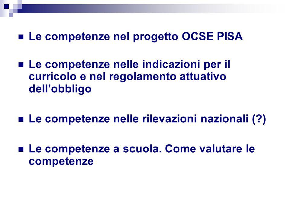 Le competenze nel progetto OCSE PISA Non padronanza di contenuti curricolari, ma capacità di utilizzare conoscenze e capacità per risolvere problemi e compiti analoghi a quelli che si incontrano nella vita quotidiana