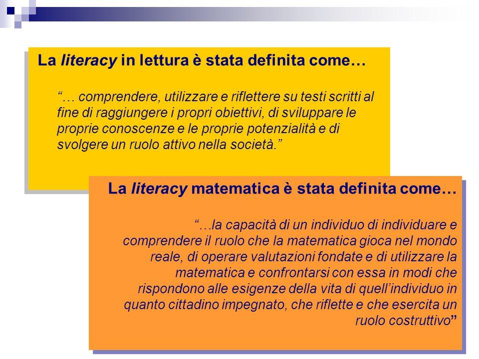 """La literacy in lettura è stata definita come… """"… comprendere, utilizzare e riflettere su testi scritti al fine di raggiungere i propri obiettivi, di s"""