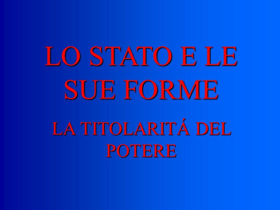 LO STATO E LE SUE FORME LA TITOLARITÁ DEL POTERE