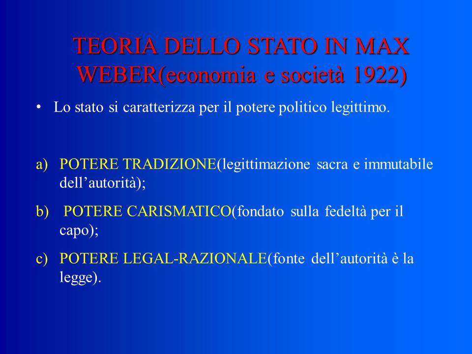 TEORIA DELLO STATO IN MAX WEBER(economia e società 1922) Lo stato si caratterizza per il potere politico legittimo.