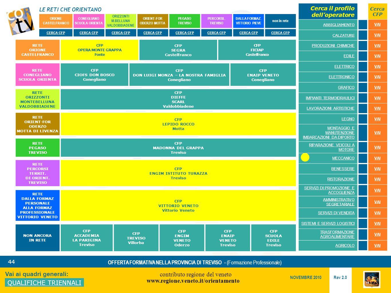 LE RETI CHE ORIENTANO contributo regione del veneto www.regione.veneto.it/orientamento 44 Vai ai quadri generali: QUALIFICHE TRIENNALI Rev 2.0 NOVEMBRE 2010 OFFERTA FORMATIVA NELLA PROVINCIA DI TREVISO - (Formazione Professionale) ORIONE CASTELFRANCO CONEGLIANO SCUOLA ORIENTA ORIZZONTI M.BELLUNA VALDOBBIADENE ORIENT-FOR ODERZO MOTTA PEGASO TREVISO PERCORSI..