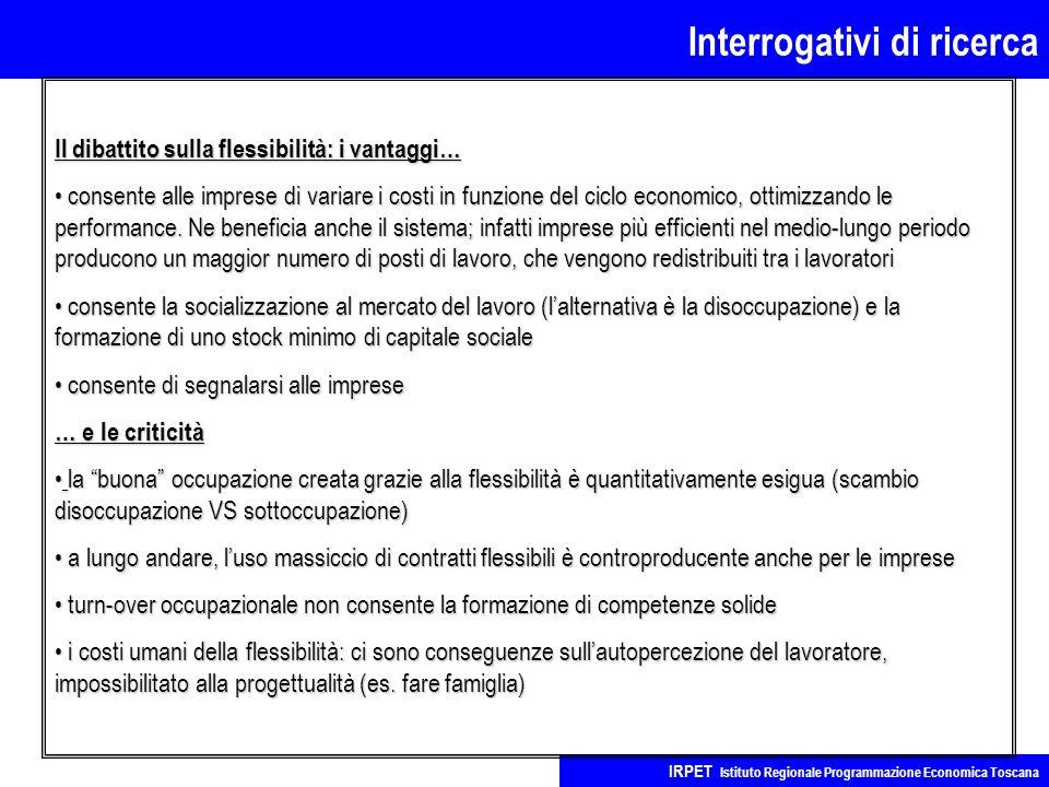 Interrogativi di ricerca IRPET Istituto Regionale Programmazione Economica Toscana Il dibattito sulla flessibilità: i vantaggi… consente alle imprese di variare i costi in funzione del ciclo economico, ottimizzando le performance.