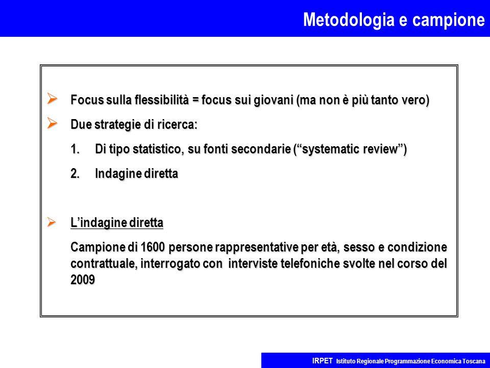 Metodologia e campione IRPET Istituto Regionale Programmazione Economica Toscana  Focus sulla flessibilità = focus sui giovani (ma non è più tanto ve