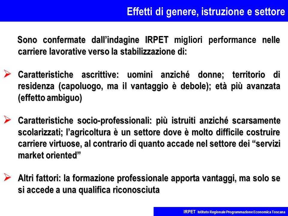Effetti di genere, istruzione e settore IRPET Istituto Regionale Programmazione Economica Toscana Sono confermate dall'indagine IRPET nelle carriere l