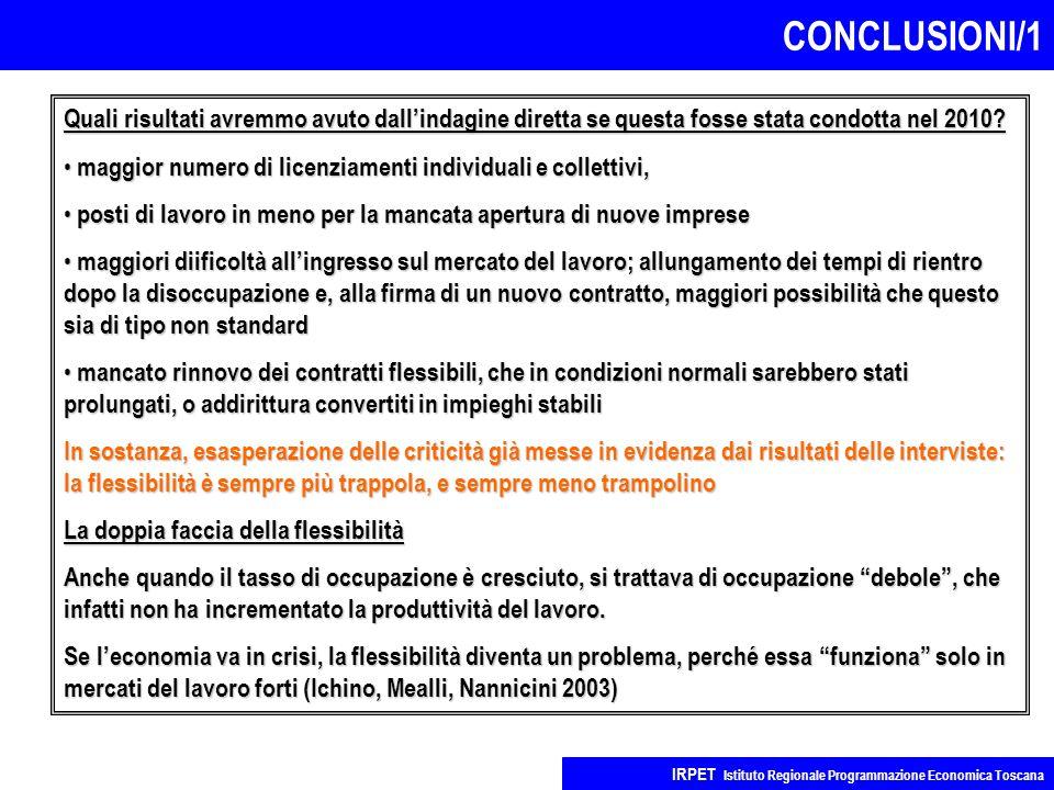 CONCLUSIONI/1 IRPET Istituto Regionale Programmazione Economica Toscana Quali risultati avremmo avuto dall'indagine diretta se questa fosse stata cond