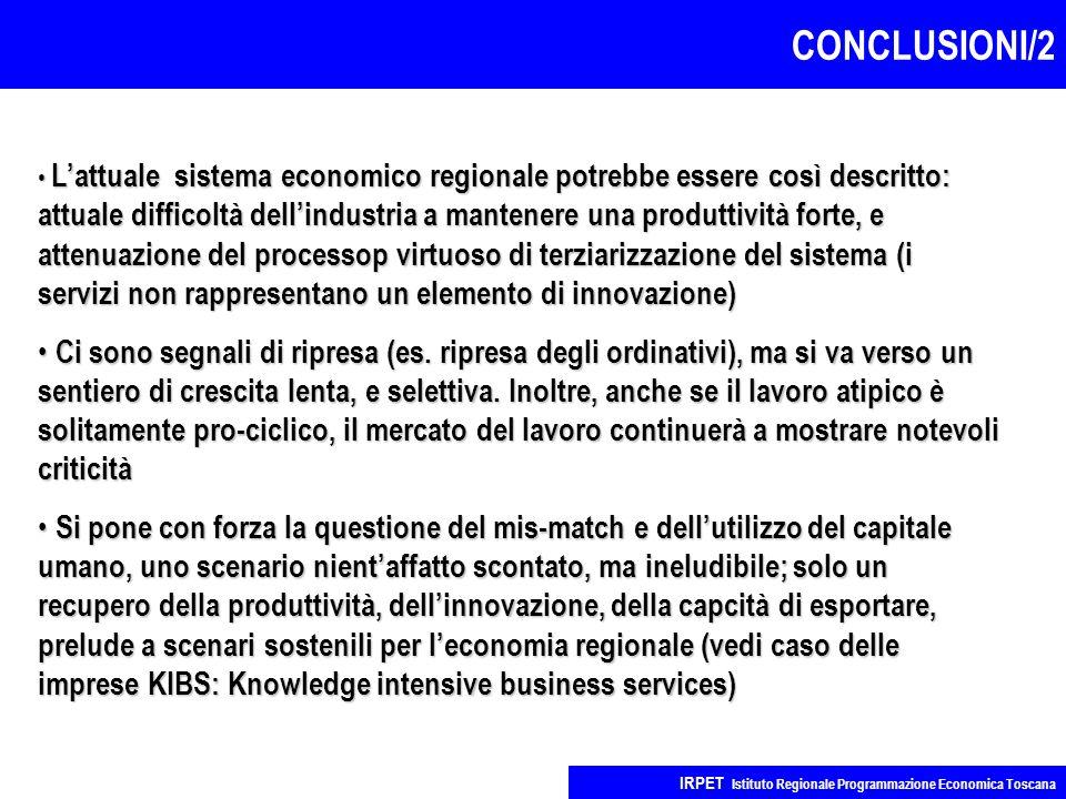 CONCLUSIONI/2 IRPET Istituto Regionale Programmazione Economica Toscana L'attuale sistema economico regionale potrebbe essere così descritto: attuale difficoltà dell'industria a mantenere una produttività forte, e attenuazione del processop virtuoso di terziarizzazione del sistema (i servizi non rappresentano un elemento di innovazione) L'attuale sistema economico regionale potrebbe essere così descritto: attuale difficoltà dell'industria a mantenere una produttività forte, e attenuazione del processop virtuoso di terziarizzazione del sistema (i servizi non rappresentano un elemento di innovazione) Ci sono segnali di ripresa (es.