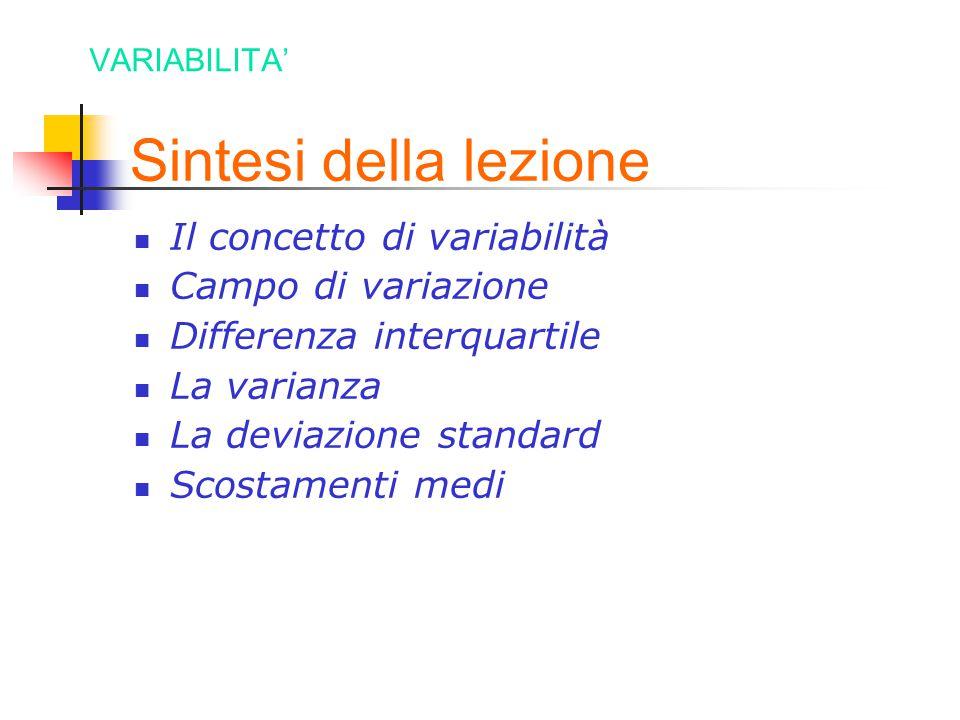 Sintesi della lezione Il concetto di variabilità Campo di variazione Differenza interquartile La varianza La deviazione standard Scostamenti medi VARI
